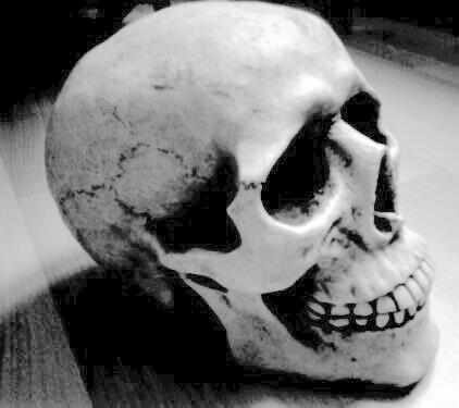 Rohguss des Skelettkopfes Golem Statue